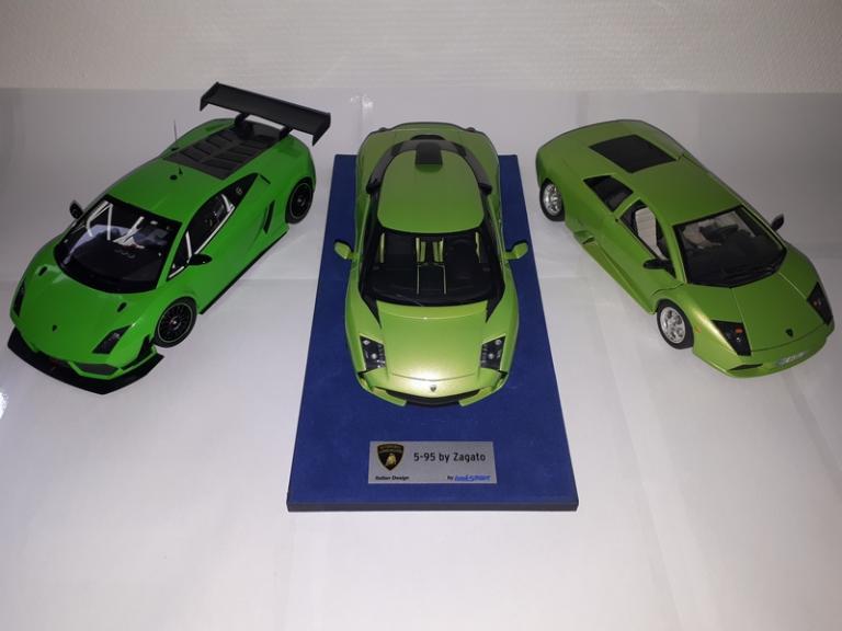 Trio verde: Gallardo GT3 / 5-95 Zagato / Murcielago 1/18